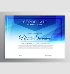 Abstract blue award certificate design template vector