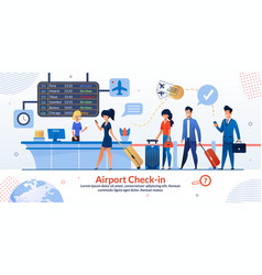 Airport check-in reception and tourists poster vector