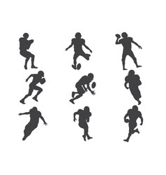 American football players silhouette rugby vector