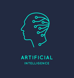 Artifical intelligence conceptual sign and logo vector