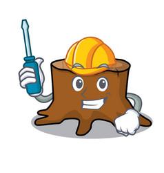 Automotive tree stump mascot cartoon vector