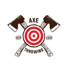 Axe throwing club logo design vector