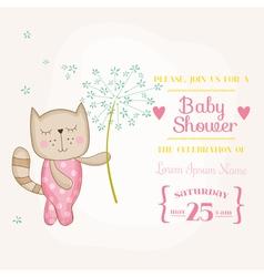 Baby girl cat holding flower - shower card vector
