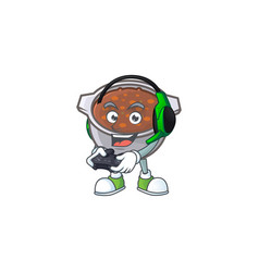 Baked beans in bowl with bring gaming mascot vector