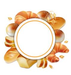 baker logo bread realistic label 3d vector image