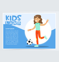 Beautiful active girl playing soccer kids land vector