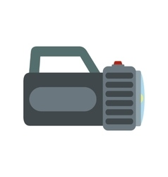 Black flashlight flat icon vector image