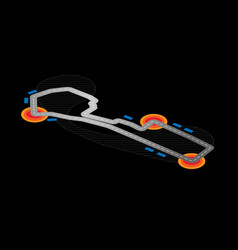 black isometric circuit vector image