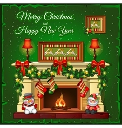Burning Christmas fireplace on a green background vector