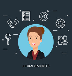 Businesswoman with human resources set icons vector