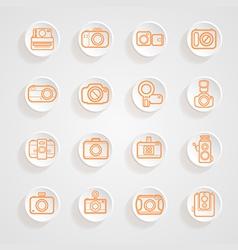 Button shadows camera icons set vector