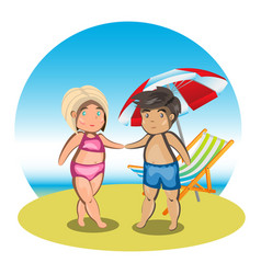 cartoon couple on beach vector image