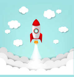 cartoon sky with rocket and cloud vector image
