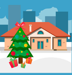 christmas trees outdoor home vector image