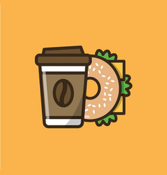 Coffee drink and bagel sandwich vector