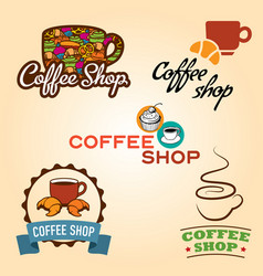 Coffee shop emblem collection vector