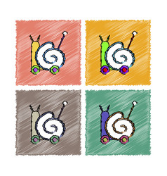 Collection flat shading style icons toy snail vector