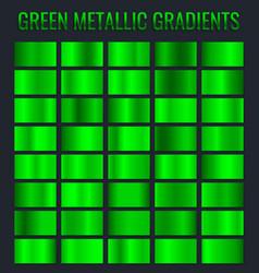 collection green metallic gradient brilliant vector image