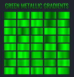 collection of green metallic gradient brilliant vector image