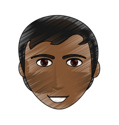 color pencil cartoon front face man brunette with vector image