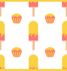 colorful seamless pattern of appetizing popsicles vector image
