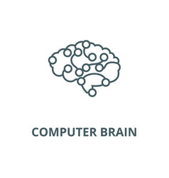 computer brain line icon computer brain vector image
