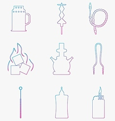 Contour gradient icons for hookah Accessories and vector