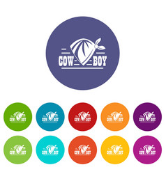 cowboy icons set color vector image