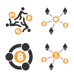 Cryptocurrency collaboration icon set vector