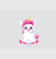 Cute unicorn background baby fairy animal vector