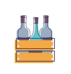 Different wine bottles icon vector