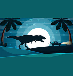 Dinosaur is after the car vector