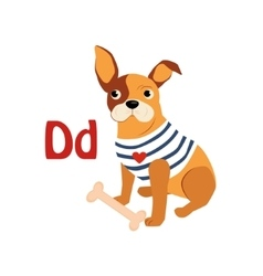 Dog funny alphabet animal vector
