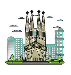 Doodle sagrada familia tower and nice cityscape vector