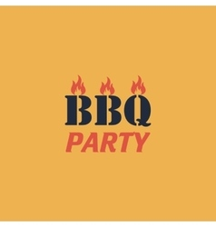 Flaming BBQ Party word design element vector