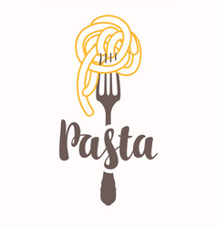 flat with pasta on a fork vector image