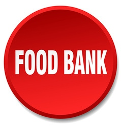 Food bank red round flat isolated push button vector