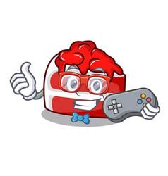 gamer red velvet mascot cartoon vector image