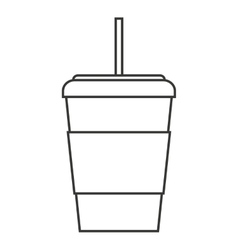 glass drink with straw isolated icon vector image
