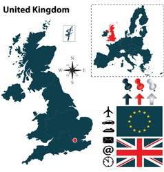 Great Britan and European Union map vector image