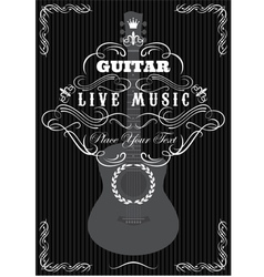 grungy background with black acoustic guitar vector image