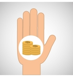 Hand concept save money coin dollar vector