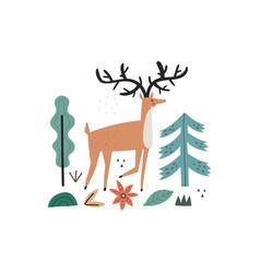 Hand drawn wild forest hoofed animal with horns vector