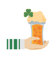hand leprechaun holding glass beer st patricks day vector image