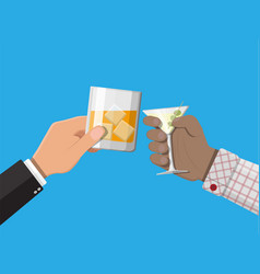 Hands group holding glasses with drinks vector
