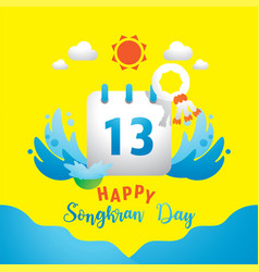 happy songkran day with 13th on calendar vector image