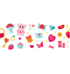 happy valentine s day banner set of cute icons vector image