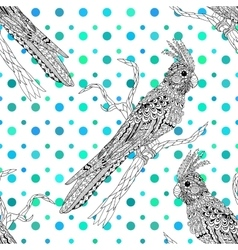 High detailed seamless pattern with corella parrot vector