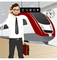 hipster businessman waiting for the train vector image