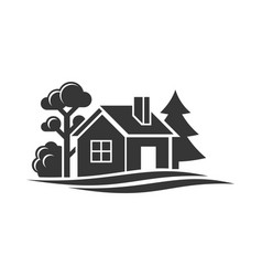 Home and trees icon for logo on white background vector